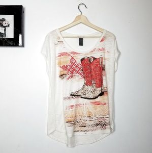 Country style  cowboy boots print tee size M